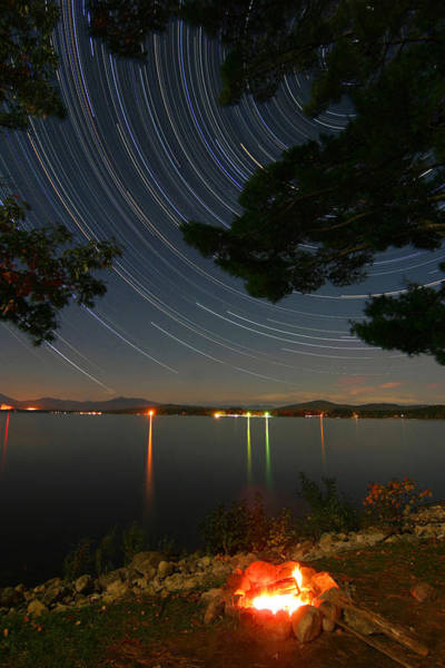Ossipee Wall Art - Photograph - Campfire Star Trails by Larry Landolfi