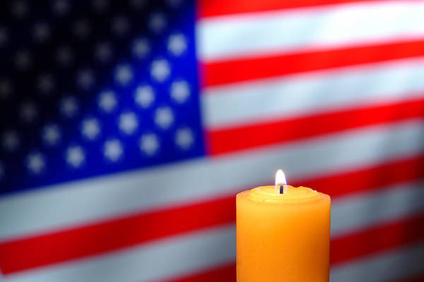 Remembrance Photograph - Candle And American Flag by Olivier Le Queinec