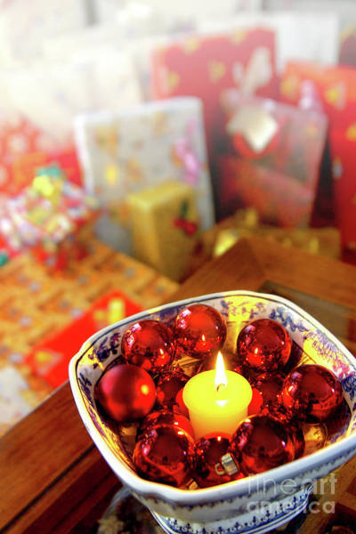 Gift Wrap Photograph - Candle And Balls by Carlos Caetano