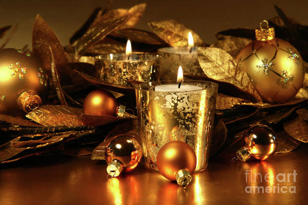Wall Art - Photograph - Candles Light In Sparkling Gold  by Sandra Cunningham