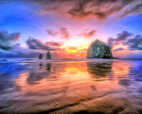 Cannon Beach Painting - Cannon Beach Sunset by Dominic Piperata