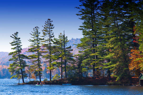Fulton Chain Of Lakes Photograph - Canoeing In The Fall by David Patterson