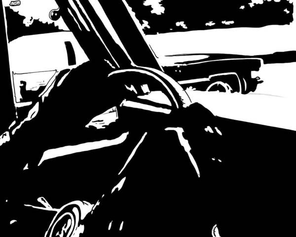 Old Drawing - Car Passing by Giuseppe Cristiano