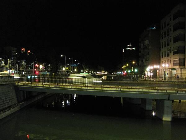 Photograph - Car Speeding On The Bridge At Night Granada Spain by John Shiron