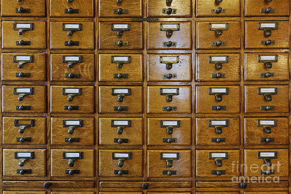 Catalog Photograph - Card Catalog Drawers by Jeremy Woodhouse