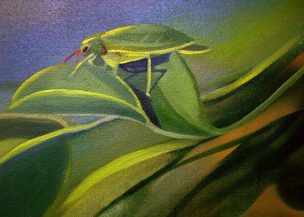 Painting - Card Of Fancy Bug by Nancy Griswold