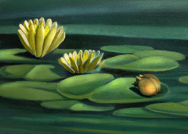 Painting - Card Of Frog With Lily Pad Flowers by Nancy Griswold