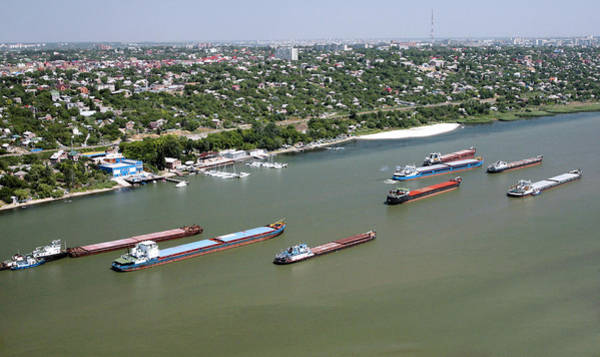 Donau Photograph - Cargo Barges, Don River, Russia by Ria Novosti