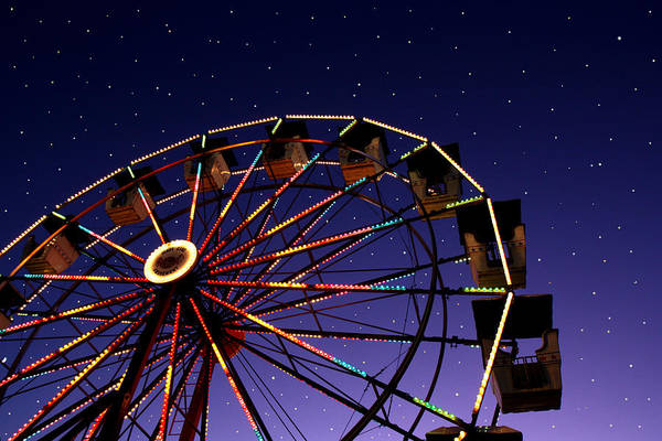 Photograph - Carnival Ferris Wheel Against Starry Night Sky by Heather Cate Photography