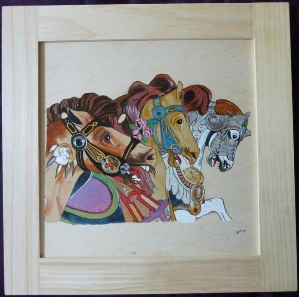 Carousel Mixed Media - Carousel Horses Pyrographic Wood Burn Art Original 15.5 X 15.5 Inch Complete With Frame By Pigatopia by Shannon Ivins