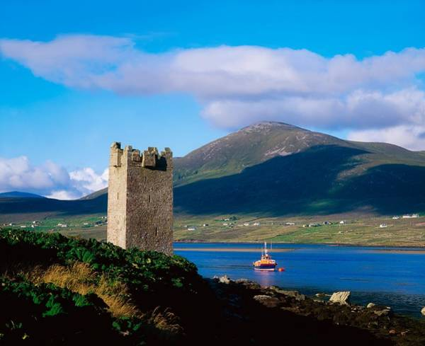 Horizontally Photograph - Carrickkildavnet Castle, Achill Island by The Irish Image Collection