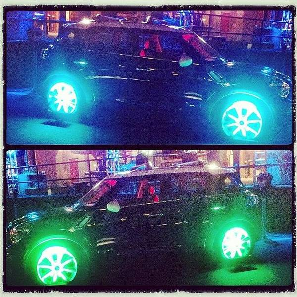 Vehicle Photograph - #cars #minicooper #neon #tires #glow by Victor Wong