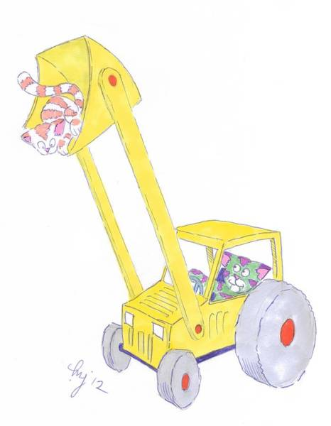 Painting - Cartoon Digger And Cats by Mike Jory