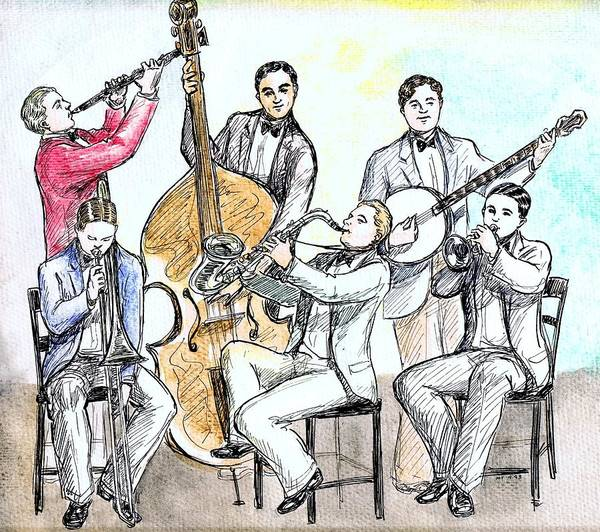 Vintage Chicago Drawing - Cartoon Jazz Band by Mel Thompson