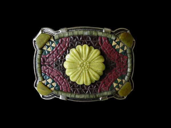 Jade Mixed Media - Carved Adventurine Flower And Jade Mosaic Belt Buckle by Katherine Sutcliffe
