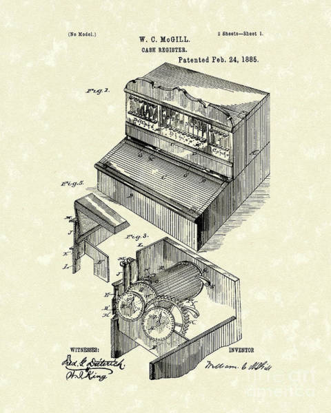1885 Wall Art - Drawing - Cash Register 1885 Patent Art by Prior Art Design