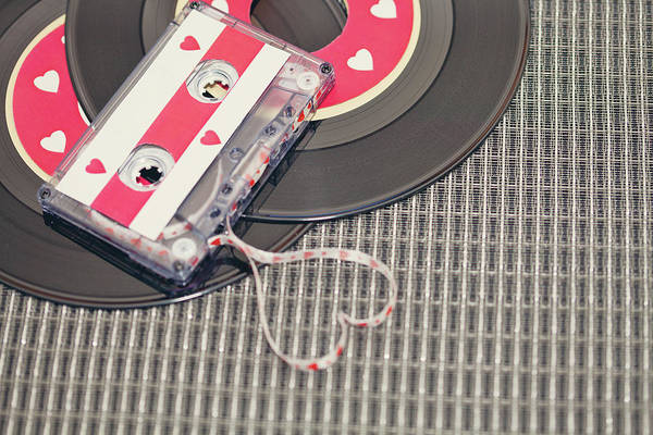 Wall Art - Photograph - Cassette Tape Forming Heart by Isabelle Lafrance Photography