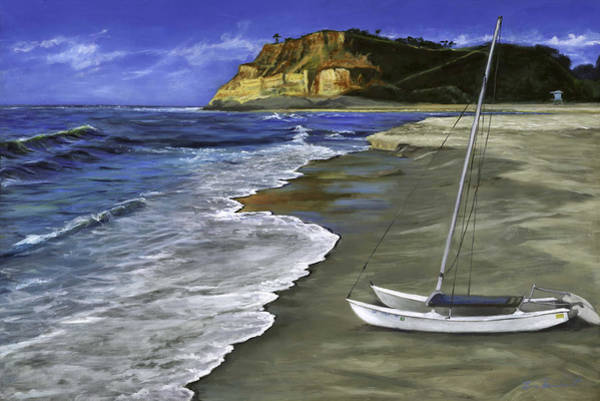 Wall Art - Painting - Cat And Dog Beach by Lisa Reinhardt
