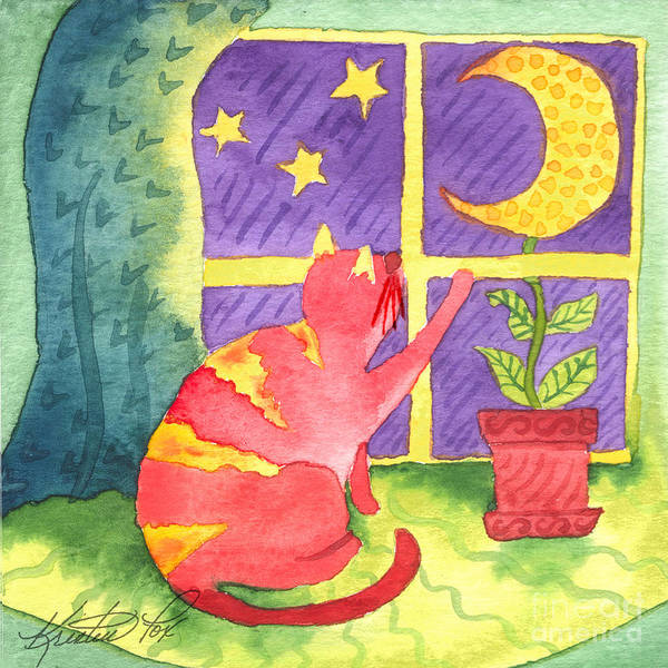 Painting - Cat And Moon by Kristen Fox