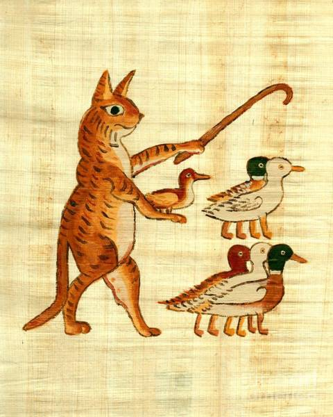 Painting - Cat Herding Ducks Egyptian Comic by Pet Serrano