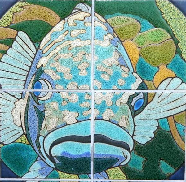 Photograph - Catalina Tile Blue Fish by Jeff Lowe