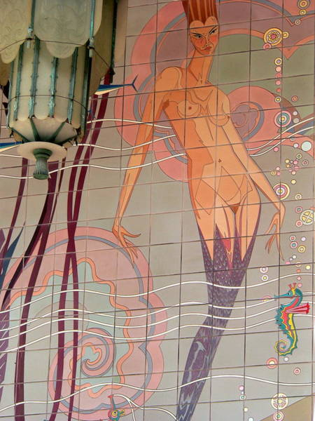 Photograph - Catalina Tile Mermaid And Lamp by Jeff Lowe