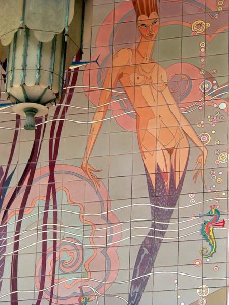 Catalina Tile Mermaid And Lamp Art Print