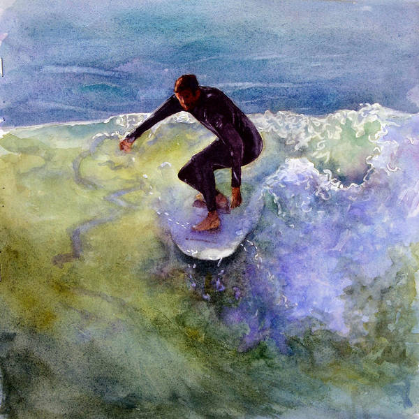 Surfer Painting - Catch A Wave by Bonnie Rinier