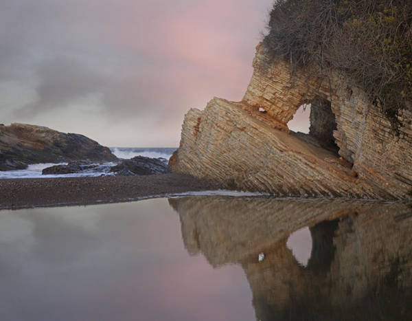 Montana De Oro State Park Photograph - Cave Reflected In Pool At Dusk Spooners by Tim Fitzharris
