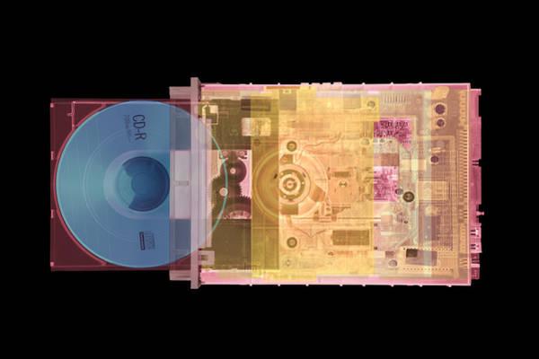Roms Photograph - Cd Drive, Coloured X-ray by Mark Sykes