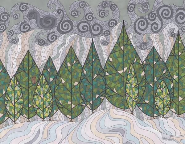 Evergreen Trees Drawing - Cedar Grove by Pamela Schiermeyer