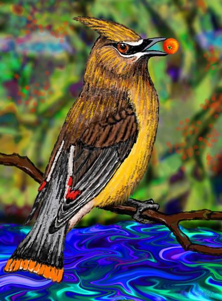 Waxwing Digital Art - Cedar Waxwing by Robin Jensen