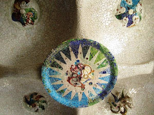 Photograph - Ceiling Tile Work Artistic Mosaic Antoni Gaudi Guell Park Barcelona Spain by John Shiron