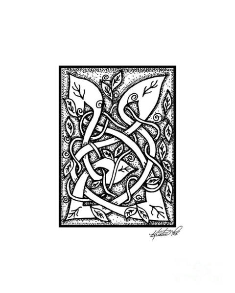 Drawing - Celtic Entwined Vines by Kristen Fox