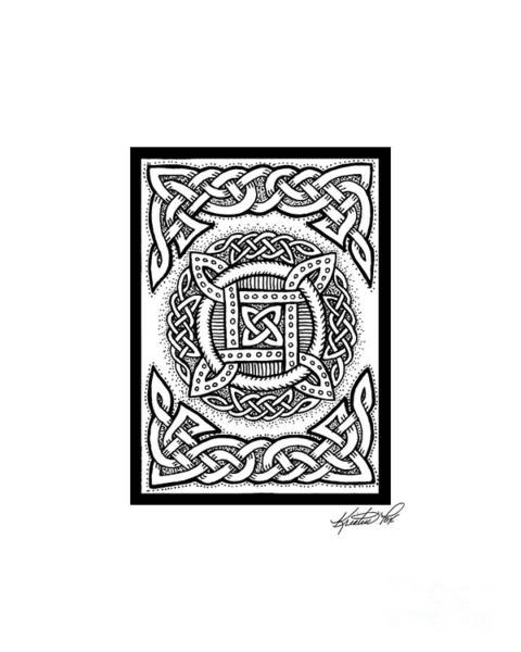 Drawing - Celtic Four Square Circle by Kristen Fox