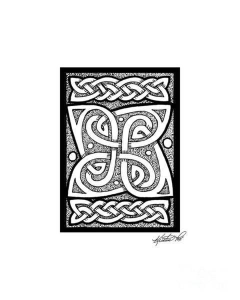 Drawing - Celtic Knotwork Cloverleaf by Kristen Fox