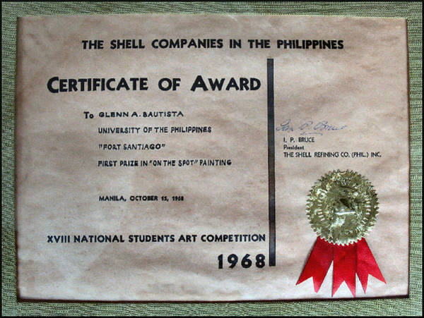 Photograph - Certificate Of Award 1968 by Glenn Bautista