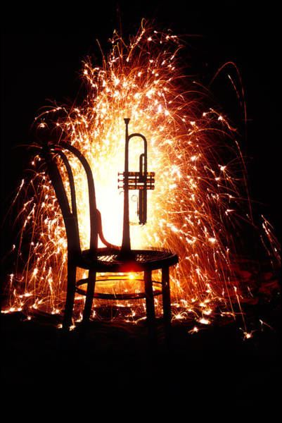 Trumpet Photograph - Chair And Horn With Fireworks by Garry Gay
