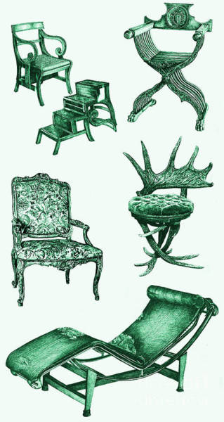 Antlers Drawing - Chair Poster In Green  by Adendorff Design