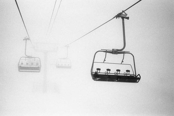 Horizontal Landscape Photograph - Chairlift In The Fog by Brian Caissie