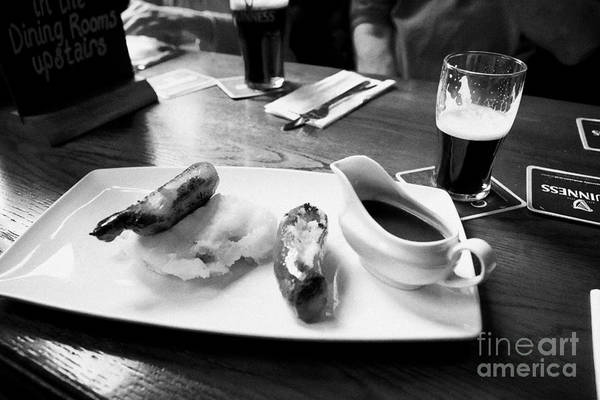 Scallion Photograph - Champ And Sausages With Guinness For Lunch In A Pub In Ireland by Joe Fox