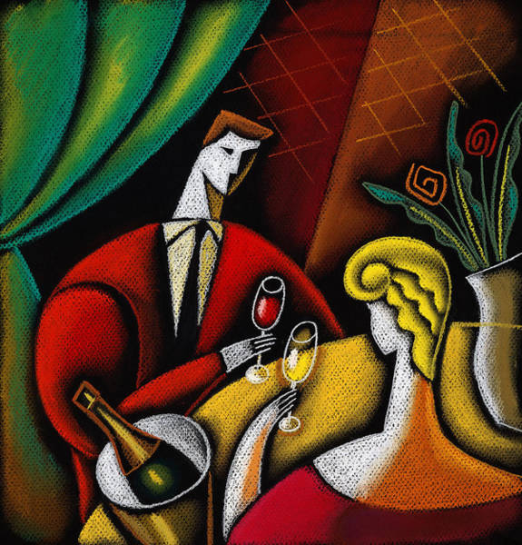 Food Groups Painting - Champagne And Love by Leon Zernitsky