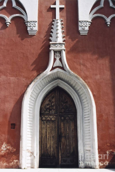 Photograph - Chapel Entrance In White And Brick Red by Agnieszka Kubica