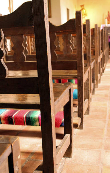 Photograph - Chapel Pews At Mission Espada by Sarah Broadmeadow-Thomas