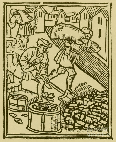 Charcoal Drawing Photograph - Charcoal Burners, Medieval Tradesmen by Science Source