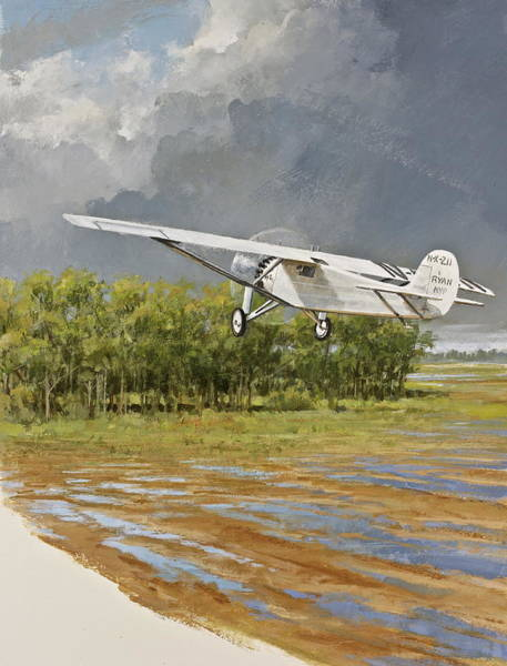 Painting - Charles Lindbergh Taking Off by Cliff Spohn