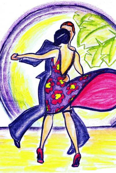 Nostalgia Drawing - Charleston Dancers by Mel Thompson