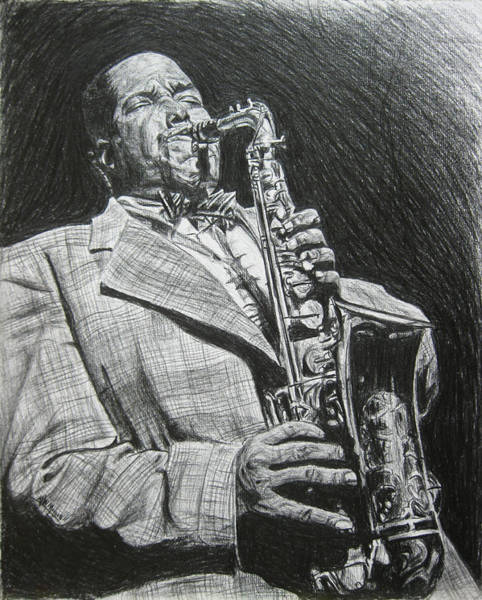 Sax Drawing - Charlie Parker by Michael Morgan