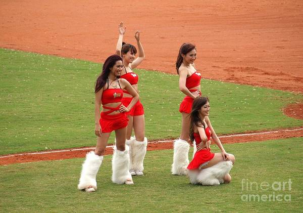 Cheerleaders Photograph - Cheerleaders Pose For The Fans In Taiwan by Yali Shi