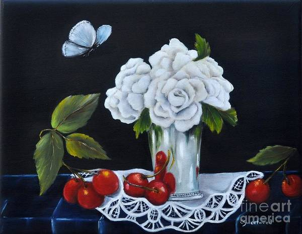 Doily Wall Art - Painting - Cherries And Roses by Carol Sweetwood